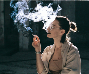 smoke, girl, and cigarette image