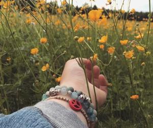 bracelets, field, and flower image