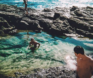 beach, boy, and ocean image