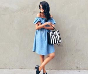 girl, bags, and dress image