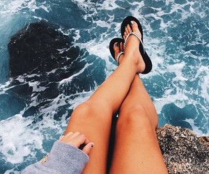beach, blue, and flipflops image