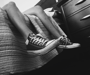 bed, black and white, and converse image