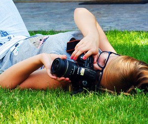 blond hair, camera, and girl image