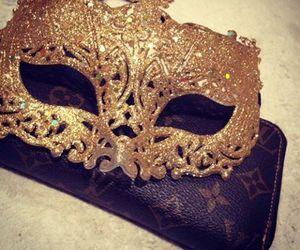 mask, gold, and luxury image