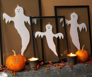 ghost, pumpkin, and autumn image