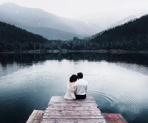 lake, love, and couple image