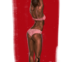art, red, and african american woman image
