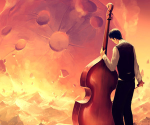 cello, moon, and music image