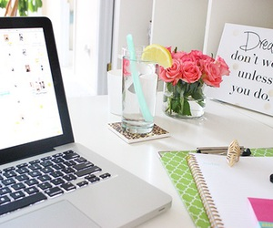 flowers, girl, and laptop image