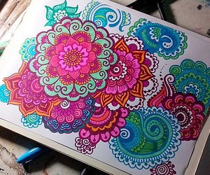 art, mandala, and colors image