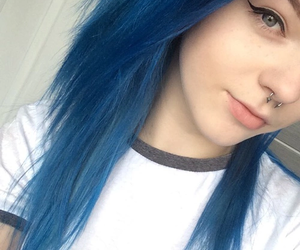 color hair, Piercings, and liner image
