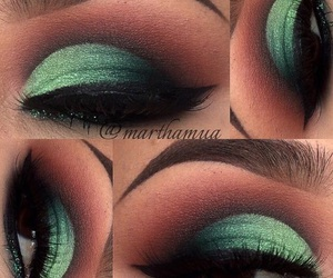 green, pretty, and makeup image