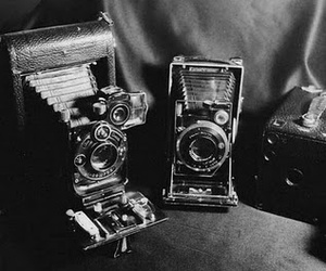 black and white, camera, and old image