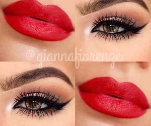 red lips, eyes, and lips image