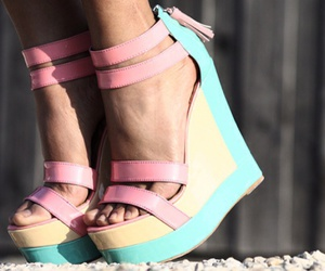 shoes, pastel, and wedges image