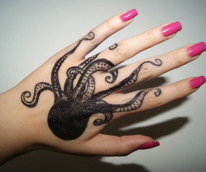 tattoo, octopus, and nails image