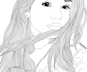 beautiful, hair, and outline image