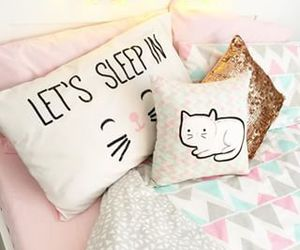 bed, cat, and design image