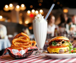 food, burger, and milkshake image