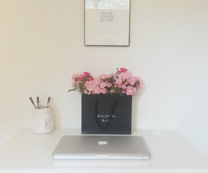 decor, desk, and flowers image