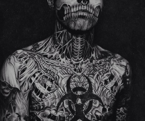 tattoo, rick genest, and piercing image