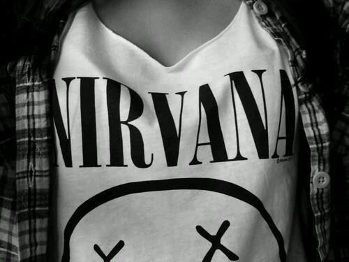 nirvana, shirt, and black and white image