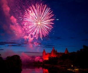 fireworks, castle, and sky image