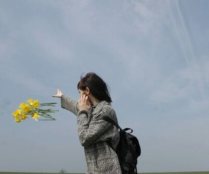 flowers, girl, and sky image
