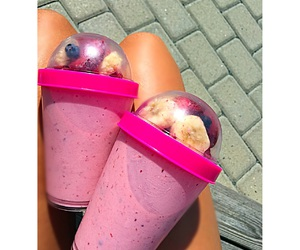 bananas, blueberries, and pink image