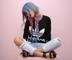 hair, adidas, and pink image