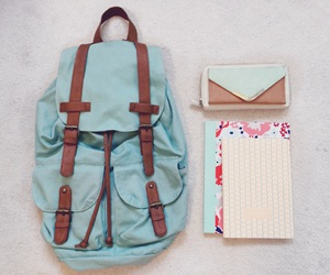 backpack, blue, and girly image