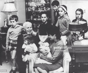 charlie chaplin, family, and love black and white image
