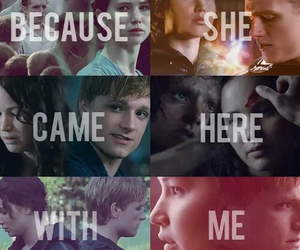 katniss, peeta, and hunger games image