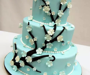 cake, blue, and flowers image