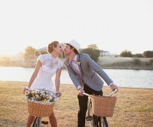 marriage, bike, and bride image