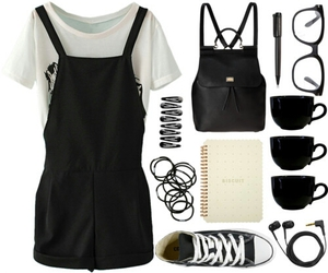 outfit, cute, and black image