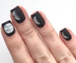 black, moon phases, and nails image