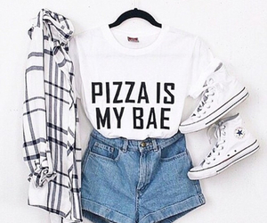 fashion, outfit, and pizza image