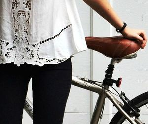 fashion, white, and bike image