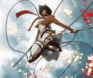 mikasa, attack on titan, and shingeki no kyojin image