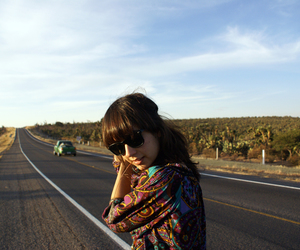 girl, road, and sunglasses image