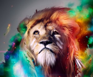animals, lions, and artistic colors image