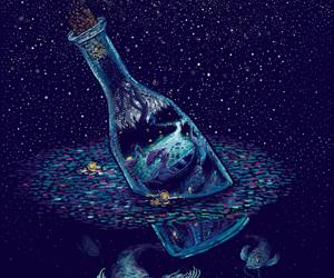 bottle, fish, and art image