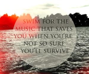 music, quote, and swim image
