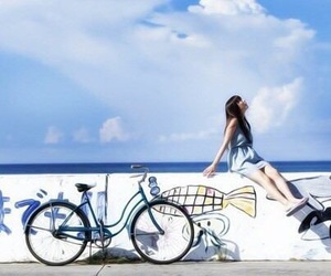 bike, sea, and japan image
