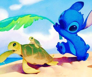 stitch, disney, and turtle image