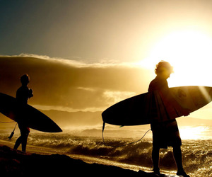 surf, sunset, and surfing image