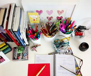 book, pencil, and desk image