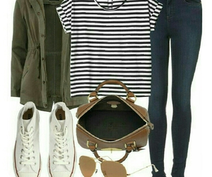 brown purse, white converse, and striped t-shirt image