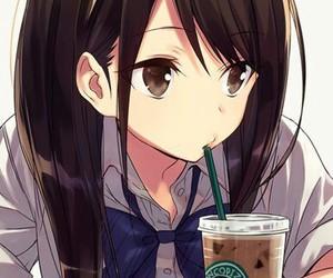 anime, girl, and starbucks image
